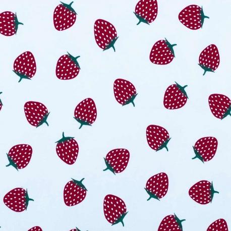 Tissu jersey fruits fraises - Rouge foncé