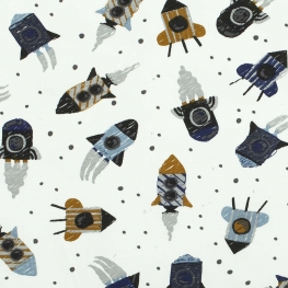 Tissu jersey fusée de l'espace - Bleu-gris, camel & gris