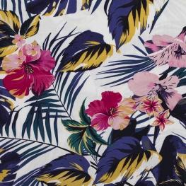 Tissu viscose fleuri hibiscus & tiaré - Bleu, ocre & rose