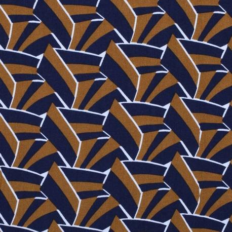 Tissu viscose graphic chic - Camel & bleu marine