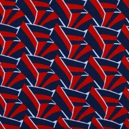 Tissu viscose graphic chic - Rouge vif & bleu marine