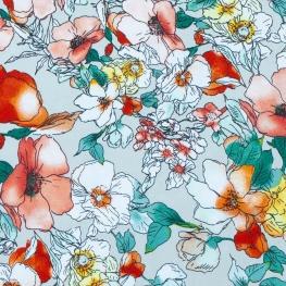 Tissu fleuri champêtre - Gris clair & multicolore