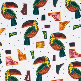 Tissu jersey toucans - Vert, bordeaux & jaune