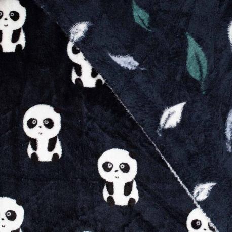 Tissu polaire double face panda & feuilles - Noir