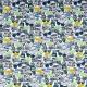 Tissu jersey Hello appareil photo - Bleu, jaune & gris