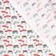 Tissu coton stop voiture - Vert d'eau & corail