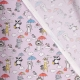 Tissu coton animaux et parapluies - Doux parme
