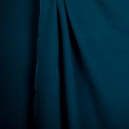 Tissu coton double gaze - Bleu dark denim