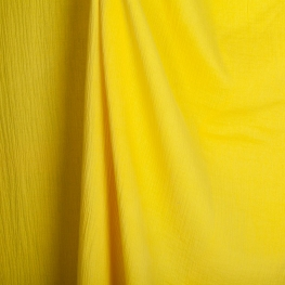 Tissu coton double gaze - Jaune soleil