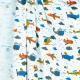 Tissu jersey avions & hélicoptères - Bleu, orange & moutarde