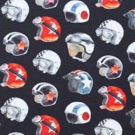 Tissu jersey sweat casque moto rétro