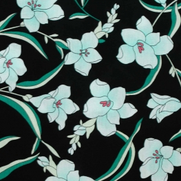Tissu coton fleuri exquis - Noir, vert & bleu ciel