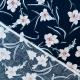 Tissu coton fleuri exquis - Bleu marine, bleu ciel & rosé