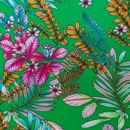 tissu viscose jungle fleuri - Vert