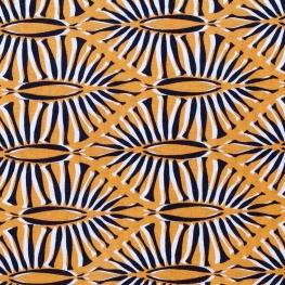Tissu viscose sauvage ethnic - Noir & moutarde