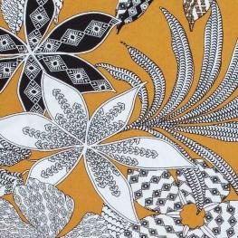 Tissu viscose fleuri - Moutarde
