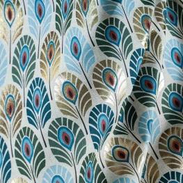Tissu toile plumes de paon doré - Bleu