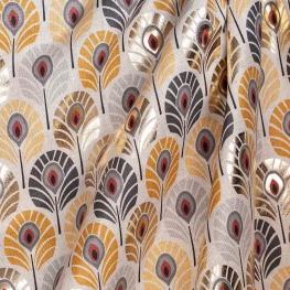 Tissu toile plumes de paon doré - Jaune