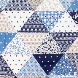 Tissu coton cretonne patchwork - Bleus