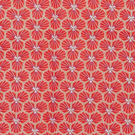 Tissu coton cretonne good day - Rouge grenadine