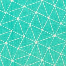 Tissu coton cretonne graphique origami - Bleu lagon