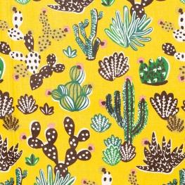 Tissu coton cretonne cactus - Jaune