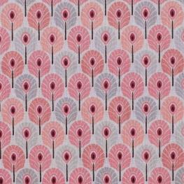 Tissu coton cretonne plume de paon - Rose & gris
