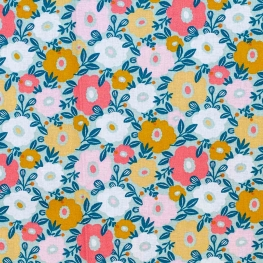 Tissu coton cretonne fleuri - Menthe
