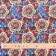 Tissu coton cretonne dahlia - Rouge & bleu