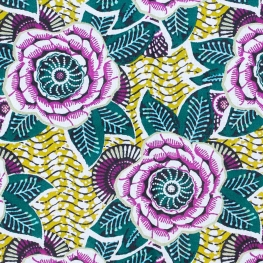 Tissu coton cretonne dahlia - Lime & violet