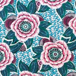 Tissu coton cretonne dahlia - Bleu & fuchsia