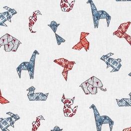 Tissu coton cretonne animaux origami - Rouge & bleu