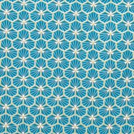 Tissu coton cretonne good day - Bleu