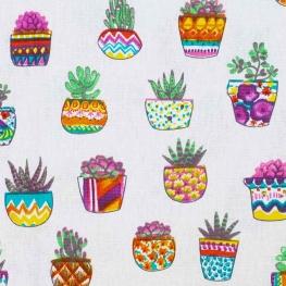 Tissu coton cretonne cactus en pot - Multicolore