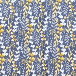 Tissu coton ravissant feuillage - Bleu nuit & safran