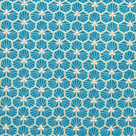Tissu coton enduit good day - Bleu