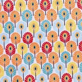 Tissu coton enduit plume de paon - Lagon & corail