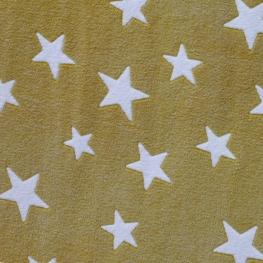 Tissu polaire étoile - Ocre & Blanc