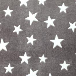 Tissu polaire étoile - Gris & Blanc