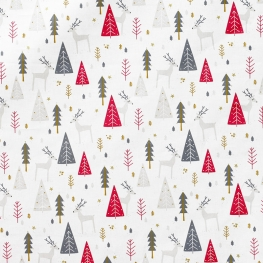 Tissu coton cretonne rennes & sapins d'hiver - Blanc