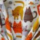 Tissu coton cretonne chat fantaisie - Blanc cassé & Moutarde