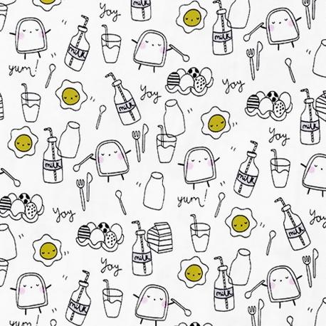 Tissu jersey petit déjeuner - Blanc, Noir & Jaune