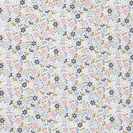 Tissu Velours Fleurs Vintage - Blanc