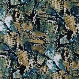 Tissu Viscose Serpent - Vert & Noir