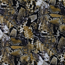 Tissu Viscose Serpent - Beige & Noir