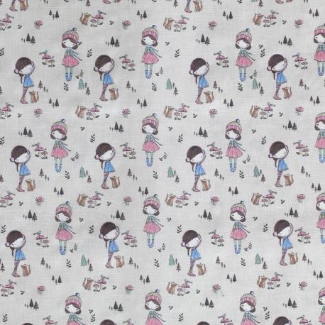 Tissu Coton Girly Champêtre - Beige