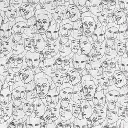 Tissu Polaire Visages - Gris chiné