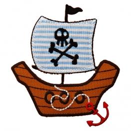 Ecusson Bateau Pirate brodé - Marron & Bleu