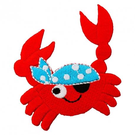Ecusson Crabe Pirate brodé - Rouge & Bleu