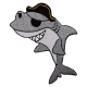 Ecusson Requin Pirate brodé - Gris